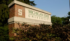 MSU Sign at the Bogue Street Entrance on a August Summer day
