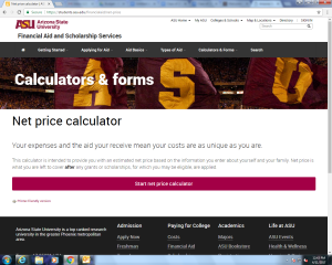 ASU Net Price Calc